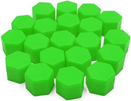uxcell ナットキャップ ナットカバー ホイールハブネジキャップ 21mm グリーン シリコーン 自動車用 20個入り