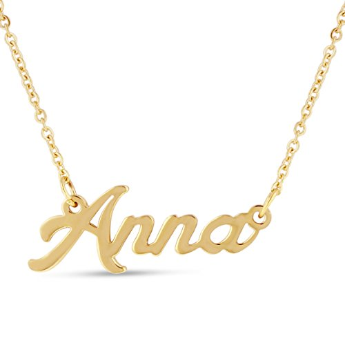 - Beam Reach Anna Nameplate Necklace in Gold Tone