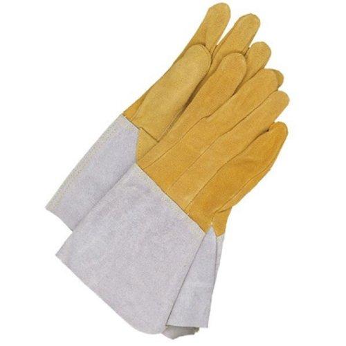 Large Bob Dale 60-1-1632-L Premium Split Leather Moose Hide Tag Welder Glove with Thumb Strap Tan