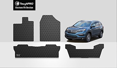 ToughPRO Honda Pilot Floor Mats +3rd Row Mat - All Weather - Heavy Duty -Black Rubber - (2016-2017)