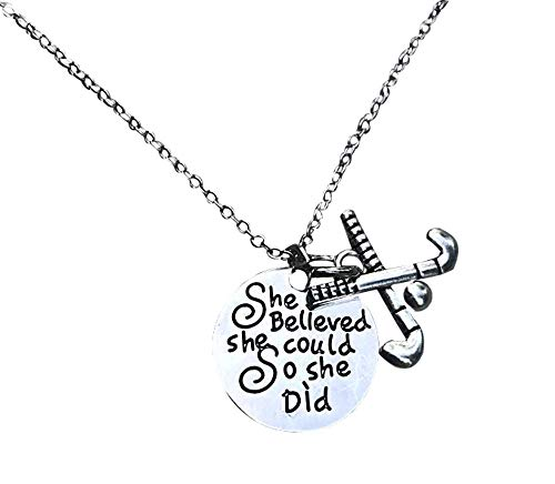 Infinity Collection Field Hockey Necklace, Field Hockey She Believed She Could So She Did Jewelry, Field Hockey Gifts, Field Hockey Charm Necklace, for Field Hockey Players
