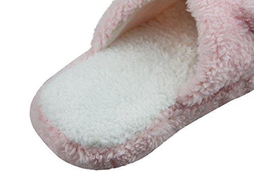 Damen Pantoffeln Plüsch Hausschuhe, Mädchen Slippers, Weiche Wärme Baumwolle Hausschuhe, Niedliche Slippers Indoor floor Anti Rutsch für Winter Herbst Pink