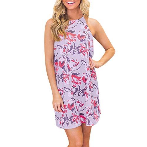 ONLYTOP_Clothing Mini Dresses for Women,ONLYTOP Women Halter Neck Sleeveless Short Bodycon Summer Party Beach Dress Purple
