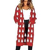 MOSERAIN Cardigan for Women Knitted Christmas Elk Print Long Sleeve Sweater Coat