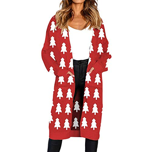 (ClearanceHULKAY Women's Christmas Tops, Upgrade Stylish Print Long Sleeve Cardigan T-shirt Ladies Xmas Coats(Red 3,S))