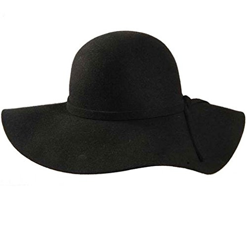 Chapeau de soleil pliable avec cravate pour femmes Bonnets en laine pure 100% Beach Floppy Wide Brim