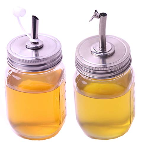 2 Pack Oil Infusions Lid, Oil Pour Spout Dispenser with Caps for Mason Jar lids, for Kitchen Cooking BBQ. Fit Regular Mouth, 18/8 Stianless Steel, Not include jars ()