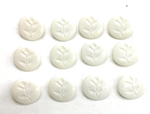 12 White Buttons SET- 5/8