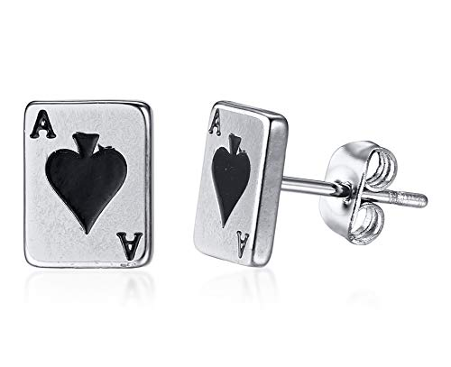 Unisex Stainless Steel Poker Aces Stud Earrings,Playing Cards Game Gambling ()