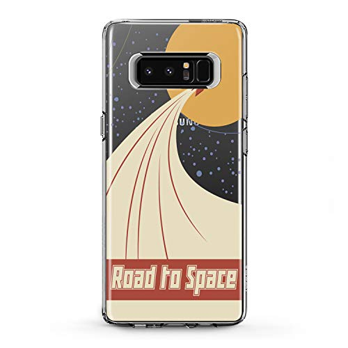 Lex Altern TPU Case for Samsung Galaxy J7 MAX Prime J6 Plus J5 J4 J3 Retro Space Rocket Print Smooth Galaxy Road Gift Clear Flexible Lightweight Cover Pinup Woman Slim fit Soft Design Vintage Man -