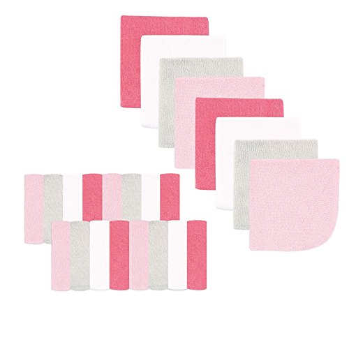 (Luvable Friends Washcloths, Pink/Gray, 24 Count)
