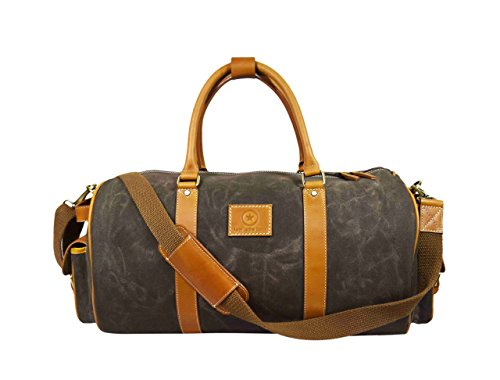 20 Inch Duffle Bag for Travel Sports Water-Repellent Waxed Canvas Gym Bag - Duffel Sportsmans