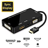 HDMI Adapter, 1080P HDMI to HDMI VGA DVI Audio Multiport 4 in 1 Synchronous Display Video Converter Adapter Male to Female Gold-Plated Jack for Laptop Computer, Monitor, Projector Black
