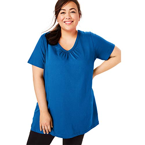 (Woman Within Women's Plus Size Perfect Shirred V-Neck Tunic - Deep Cobalt, 2X)