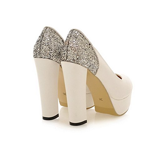 VogueZone009 Womens Round Toe Spikes Stilettos Suede PU Frosted Solid Pump Shoes, White, 3.5 UK