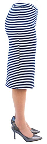 Comfy Scuba Elastic Waist Pencil Skirts for Women - Midi Tall and Long Relaxed Fit