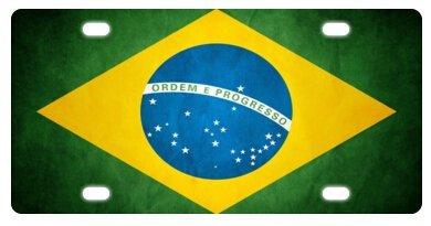 (ClustersNN Brazilian Brazil Flag Novelty License Plate Decorative Front Plate 6