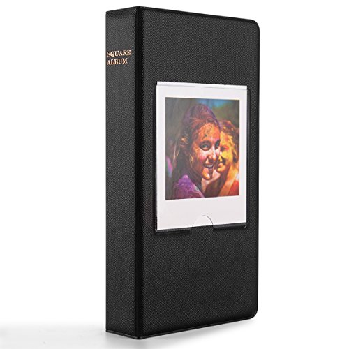 - Woodmin 64 Pockets Photo Album for Fujifilm Instant Square SQ10 Films (Black)