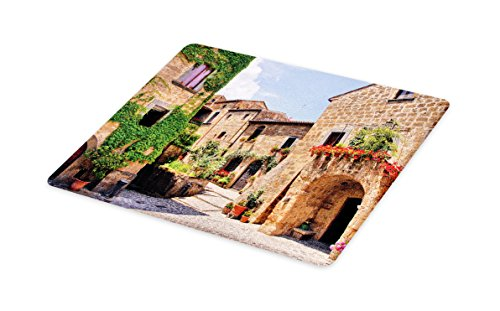 (Lunarable Tuscany Cutting Board, Italian Streets in Countryside with Traditional Brick Houses Old Tuscan Prints, Decorative Tempered Glass Cutting and Serving Board, Large Size, Brown)
