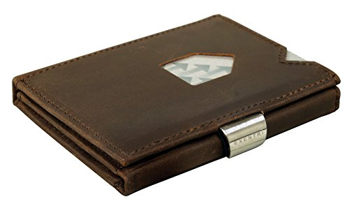 Steel RFID Wallet w Leather w Nubuck Stainless Clip Brown EXENTRI Trifold in Locking qztA5n1w