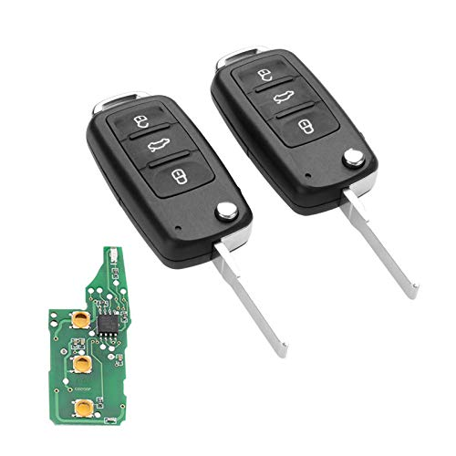 - Aupoko Replacement for 5K0837202AD 3 Button 434Mhz Flip Folding Remote Key Fob Uncut Blade Compatible for VW Golf Passat Tiguan Polo Jetta, Pack of 2