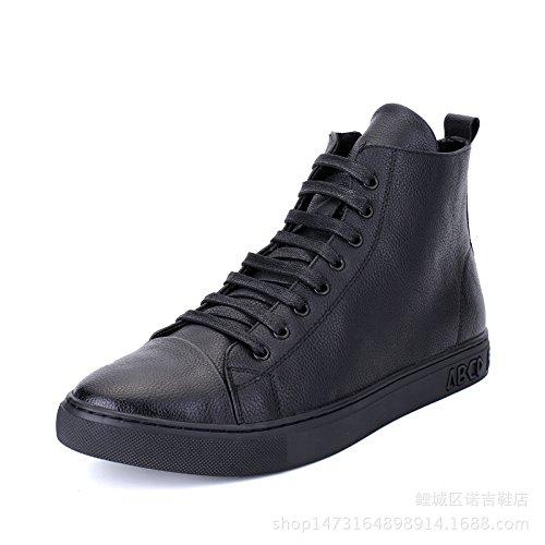 WZG hombres ocasionales Nueva cuero hechos a mano en forma de bota zapatos de los hombres de invierno plana de encaje negro Black