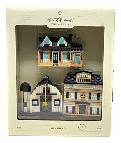 Ornament Set of 3 -Doll House/Barn / Farm House - Hearth & Hand with Magnolia