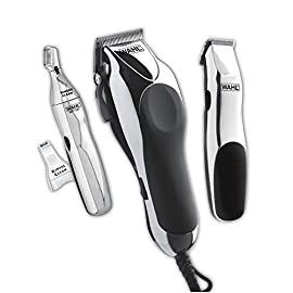 Wahl Clipper Home Barber Clipper Kit with hair clipper, beard trimmer, personal trimmer, haircutting at home in a professional style by the Brand used by Professionals #79524-3001 - 41Rxmx0FQFL - Wahl Clipper Home Barber Kit Model 79524-3001, Electric Clipper, Touch Up Trimmer & Personal Groomer – 30 Piece Kit for Professional Style Haircutting at Home –