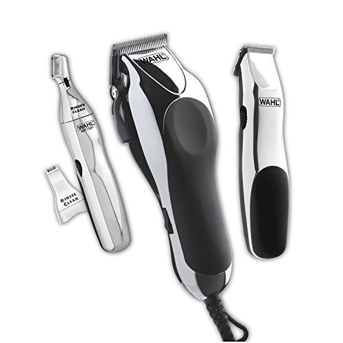 Wahl Clipper Home Barber Clipper Kit with hair clipper, beard trimmer, personal trimmer, haircutting at home in a professional style by the Brand used by Professionals #79524-3001 (Best Home Hair Clippers)