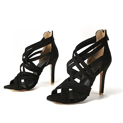 tacchi i zipper alti sexy sandali sandali 37 i sandali tacchi con black signore alti Axq45fTq