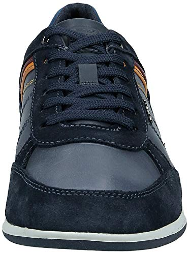 Geox Men's Waxed Leather Renan Trainers Navy