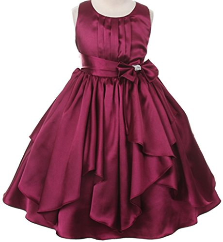 Little Girls Charmeuse Layered Ruffled Flowers Girls Dresses Burgundy 6 Charmeuse Sleeveless Tie
