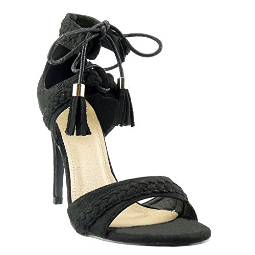 Angkorly - Chaussure Mode Sandale Escarpin stiletto ouverte femme tréssé pom-pom frange Talon haut aiguille 11 CM - Noir