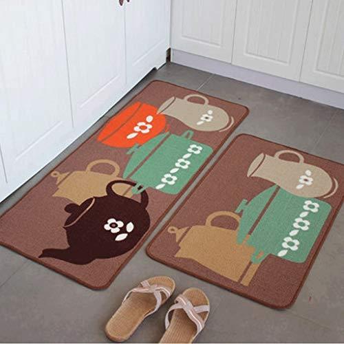 Hall Teapot Colors - NANWUGAO 2Pcs Kitchen Floor Mats Set, Door Mats Kitchen Floor Hall Carpet Blankets Absorbent Non-Slip Pad (Color : Teapot Series)