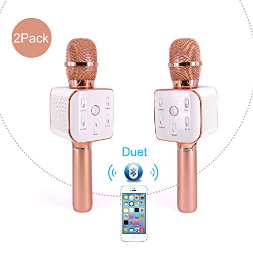 (Upgraded Version TOSING Q7s Wireless Karaoke Duet Microphone Blue Speaker 2-in-1 Portable Home KTV Player Handheld Sing & Recording for iPhone/Android System(rose)