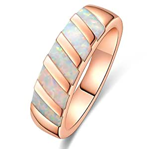 Women Simple Rings White Created Fire Opals Rose Gold Plated Engagement Wedding Party Jewelry Size 5