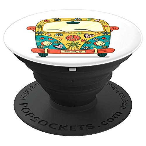 Funny 70s Cute Hippy Van Design - Gift Flowers Hippy Van - PopSockets Grip and Stand for Phones and Tablets (Hippy Van)