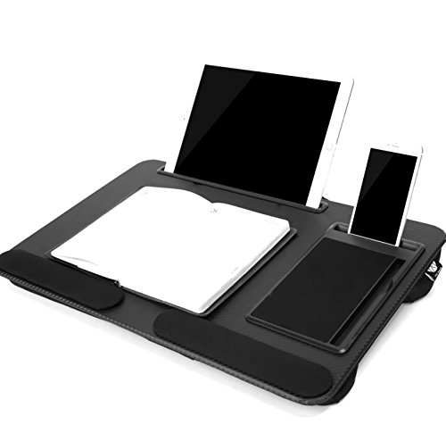Portable Laptop Lap Desk with Pillow Foam Cushion And Soft Wrist Rest Laptop Stop Bar Fits Laptop Up to 17.3 Inch