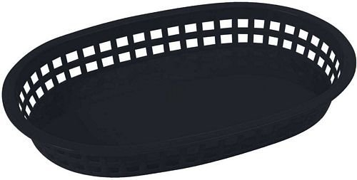 Winco Oval Platter Baskets, 10.75-Inch by 7.25-Inch by 1.5-Inch, Black, 12 ct.