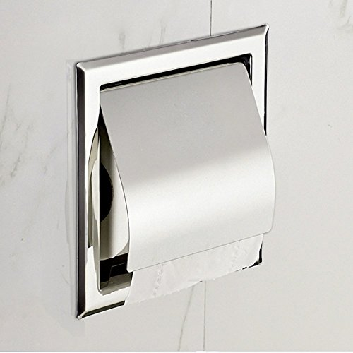 Recessed Paper Holder for Bathroom Storage, Stainless Steel, Polished Chrome (one)