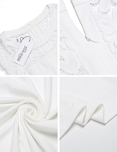 Meaneor Damen Sommer elegant Cocktatilkleid ärmellos Spitze Patchwork Abendkleid retro festlich Partykleid Vintage A-line Rockabilly Kleid
