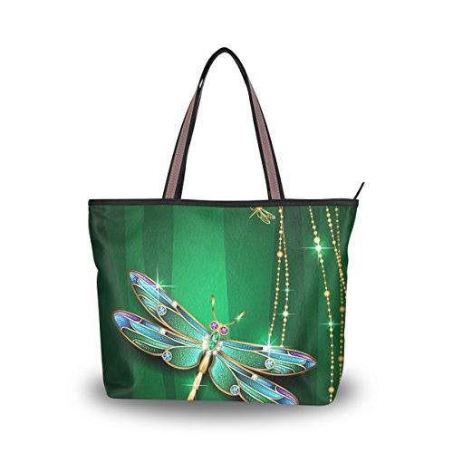 4c12a349dd JSTEL Women Large Tote Top Handle Shoulder Bags Dragonfly Patern Ladies  Handbag M
