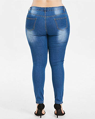 Pantalons Bleu Denim Taille Stretch Haute ZhuiKunA Femmes Broderie Skinny wx486n0YA