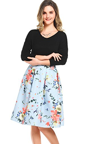 Beluring Womens Floral Print Swing Skirt Pleated Midi Swing Skirts (Blue Floral Skirt)