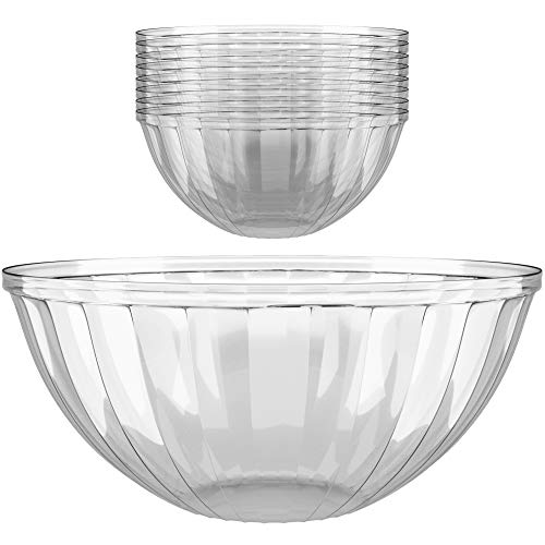 Clear Plastic Serving Bowls for Parties | 150 Oz. 4 Pack | Round Disposable Serving Bowls | Clear Chip Bowls | Party Snack Bowls | Plastic Candy Dish | Salad -