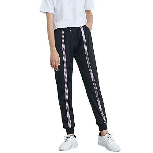 HHei_K Womens Girls Lounge Striped Print Drawstring Mid-Waist Harem Pants Casual Elastic Waist Jogger Sports Pants
