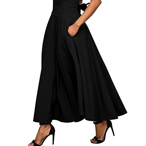 Zip Back Skirt A-line (HongHong Vintage Solid Color Zip-Back High Waist Pleated A-Line Maxi Skirt for Women Black L)
