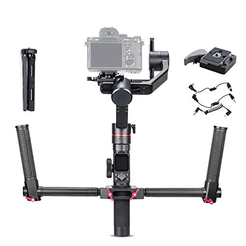 Feiyu AK2000 w/Dual Handle Grip Kit, FeiyuTech a2000 3-Axis Handheld Gimbal Mirrorless DSLR Stabilizer for Sony a9 a7 ii /a6500 Series Canon 5D Panasonic GH5 GH4 Nikon D850 max Payload 2.8kg