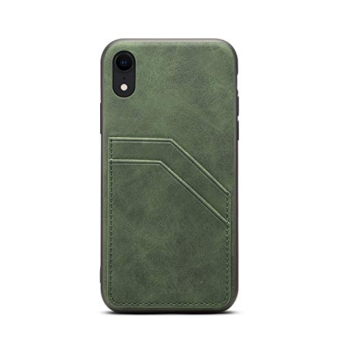 Cover for XR Apple 2018,TACOO Slim Leather Green Thin Soft PU Credit Card Holder Protective Women Girl Men Durable Shell Case Compatible with Apple iPhone XR 6.1 inches