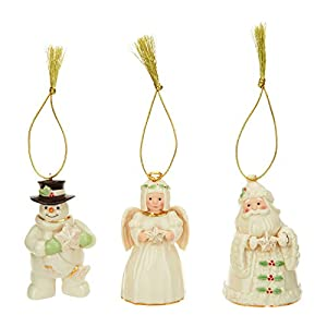 Best Epic Trends 41RxrHKAB%2BL._SS300_ Lenox Ivory China Holiday / Christmas Ornament with 24k Accents 3 PC set (Santa, Snowman, Angel) [Set of 3]